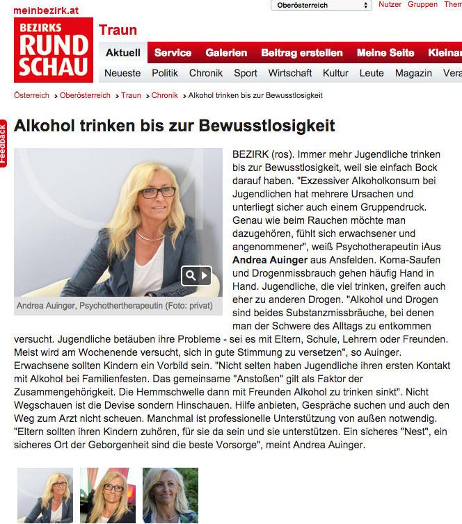 Exzessiver Alkoholkonsum bei Jugendlichen - Andrea Auinger Praxis für Psychotherapie