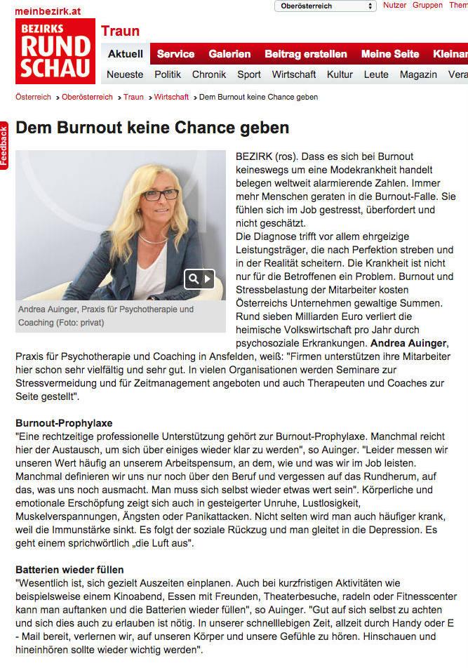 Dem Burnout keine Chance geben - Andrea Auinger - Praxis für Psychotherapie